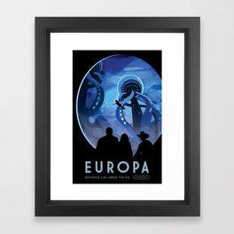 NASA Retro Space Travel Poster #4 - Europa Framed Art Print