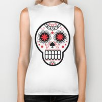 sugar skull Biker Tanks featuring sugar skull by Diseños Fofo