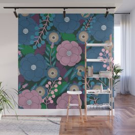 Floral garden in purple and blue Wall Mural