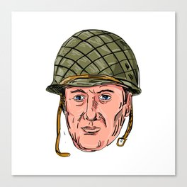 World War Two American Soldier Head Drawing Canvas Print