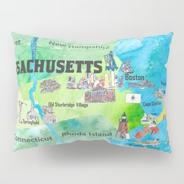 USA Massachusetts State Travel Poster Map with Touristic Highlights Pillow Sham