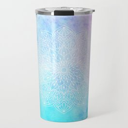 Watercolor White Mandala Illustration Pattern Travel Mug