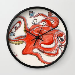 Olive the Octopus Barista Wall Clock