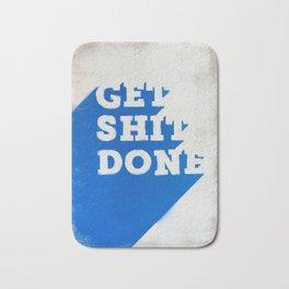 Get Shit Done Stencil Blue Bath Mat
