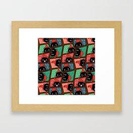 Christmas Black Cats Framed Art Print