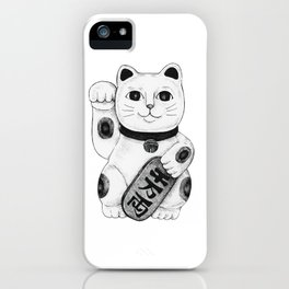 Maneki-neko Japanese Lucky Cat - Black & White iPhone Case