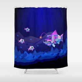 Anglerfish, lie and bioluminescence Shower Curtain