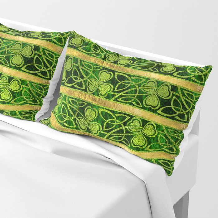 Irish Shamrock -Clover Gold and Green pattern Pillow Sham