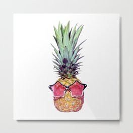Trendy pineapple with pink sunglasses Metal Print