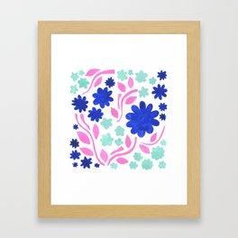 Cool Folk Floral Framed Art Print