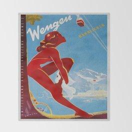 Wengen Switzerland - Vintage Travel Throw Blanket