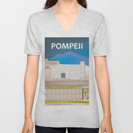 Pompeii, Italy - Skyline Illustration by Loose Petals Unisex V-Neck