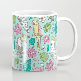 Tropical Jungle Birds Toucan Flamingo and Pink Hibiscus Floral Flowers Leaves Paradise Mint Coffee Mug