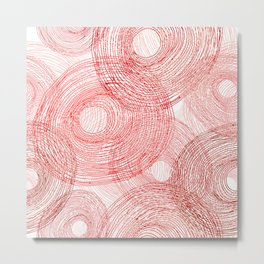Pink circles abstract lines hand drawn illustration pattern Metal Print