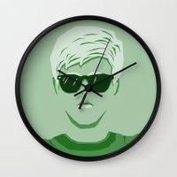 breakfast club Wall Clocks featuring The Breakfast Club - Brian by Priscila Floriano