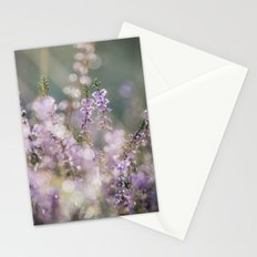 Detail of wild heather growing on a heath with early morning light. Norfolk, UK. Stationery Cards