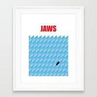 jaws Framed Art Prints featuring JAWS by commonista