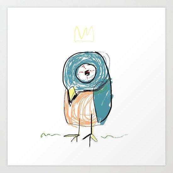 Stressed out Little King Bird  Art Print