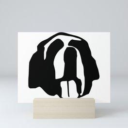 Saint Bernard face silhouette, Bernese Mountain Dog, Newfoundland Mini Art Print