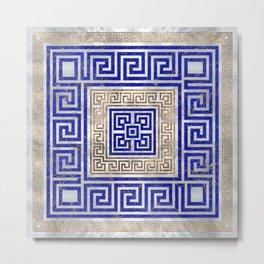 Greek Key Ornament - Lapis Lazuli and Gold #2 Metal Print