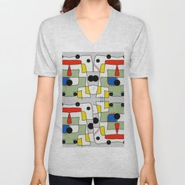 Black dots color block abstract Unisex V-Neck