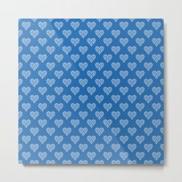 Azure Strong Blue Heart Lace Flowers Pattern Metal Print