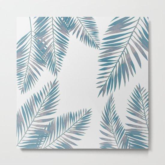 Watercolor tropical palm leaves blue Metal Print