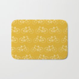 Saffron-Yellow Vintage Bicycle Pattern Bath Mat