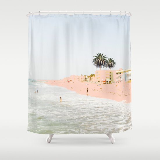 pink beach society6 decor buyart shower curtain by 83. Black Bedroom Furniture Sets. Home Design Ideas