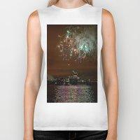 fireworks Biker Tanks featuring Fireworks by Christine Workman
