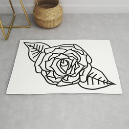 Imperfect Rose Flower Outline Rug