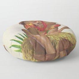 Hawaiian Hula Maiden Vintage Travel Poster Floor Pillow