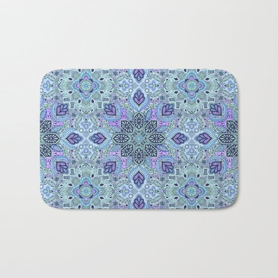 Navy Blue, Mint and Purple Boho Pattern  Bath Mat