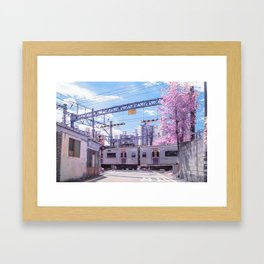 Seoul Anime Train Tracks Framed Art Print