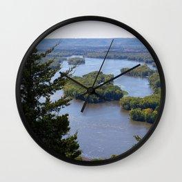 Upper Mississippi River, looking downriver from Buena Vista Park, Alma, WI Wall Clock