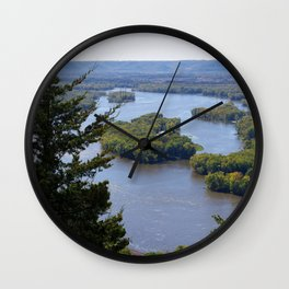 Upper Mississippi River, looking downriver from Buena Vista Park, Alma, WI Wall Clock