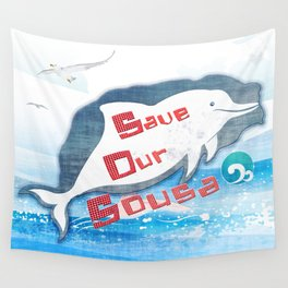 LOVE TAIWAN PINK DOLPHINS / SAVE TAIWAN PINK DOLPHINS Wall Tapestry