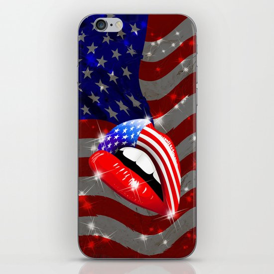 USA Flag Lipstick on Sensual Lips iPhone Skin