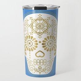 Día de Muertos • Mexican Sugar Skull – Blue & Gold Palette Travel Mug