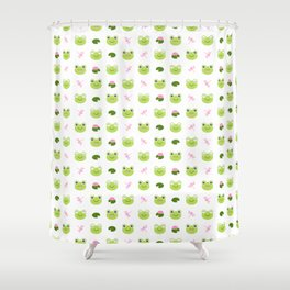 Frogs, Dragonflies and Lilypads on White Shower Curtain
