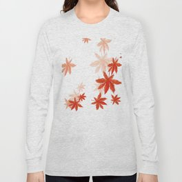 Falling red maple leaves watercolor painting Long Sleeve T-shirt