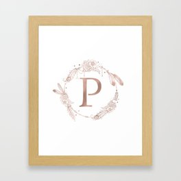 Letter P Rose Gold Pink Initial Monogram Framed Art Print