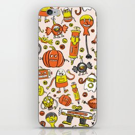 Monster Halloween Candy Bots in Orange, Yellow, Black, & Gray  // Fall Holiday Themed Candy Robots iPhone Skin