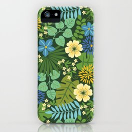 Tropical Blue and Yellow Floral iPhone Case
