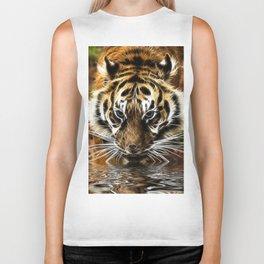 Tiger at the water's edge Biker Tank