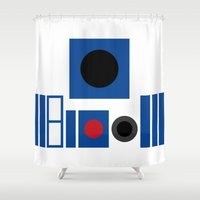 r2d2 Shower Curtains featuring R2D2 by VineDesign