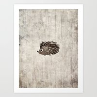 hedgehog Art Prints featuring Hedgehog by Mr and Mrs Quirynen