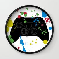 xbox Wall Clocks featuring Controller Graffiti XBox One by AngoldArts