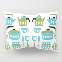 My Midcentury Modern Kitchen In Aqua And Avocado Pillow Sham