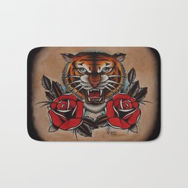 Old School Tiger and roses - tattoo Bath Mat